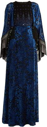 Andrew Gn Embellished cape-sleeved velvet-devoré gown
