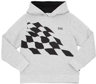 HUGO BOSS Checkered Flag Print Cotton Sweatshirt