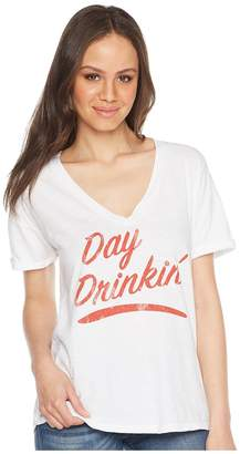 Original Retro Brand The Day Drinkin' Slub V-Neck Tee Women's T Shirt
