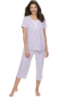 Croft & Barrow Women's Lace Trim Tee & Capri Pajama Set