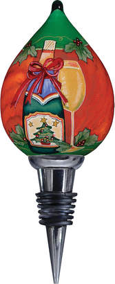 Precious Moments Ne Qwa Art Hand-Painted Blown Glass Christmas Wine Wine Stopper