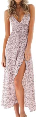 Yacun Womens Summer Dresses Floral Long Beach Strap Slip Cocktail Dress M