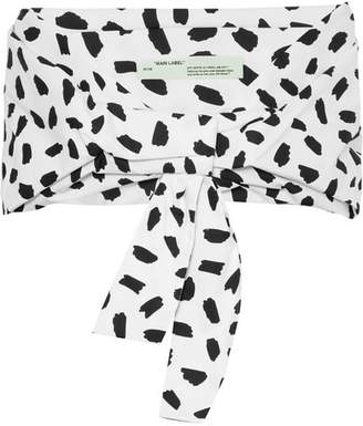 Off-White Cropped Printed Cotton-poplin Top