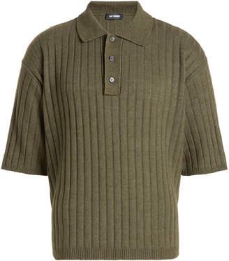 Raf Simons Ribbed Polo Shirt with Cotton and Wool