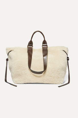 Isabel Marant Wardym Leather-trimmed Shearling Tote - Cream