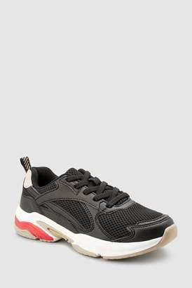 Next Boys Black Elastic Lace Chunky Trainers (Older)