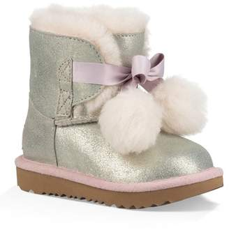 UGG Gita Metallic Genuine Shearling Pom Boot (Toddler & Little Kid)