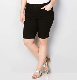 Avenue Knee Length Denim Bermuda Short in Black