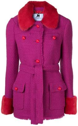 Blumarine fitted fur trim jacket