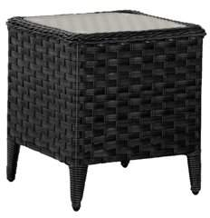 CorLiving Distressed Charcoal Grey Wide Rattan Wicker Square Patio End Table