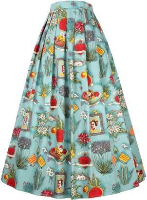 Belle White and Black Print Elastic Waist Swing Maxi Skirt Size M