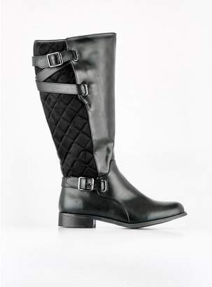 Evans Black Quilted Rider Boots