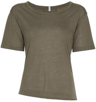 Lot 78 Lot78 short sleeve asymmetric cashmere blend top