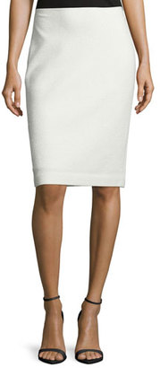 St. John Collection Embossed Eyelash Knit Pencil Skirt, Frost $695 thestylecure.com