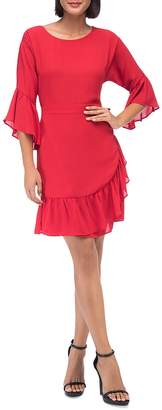 Bobeau B Collection by Astrid Faux-Wrap Ruffle Dress