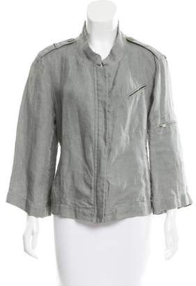 Donna Karan Linen Zip-Up Jacket