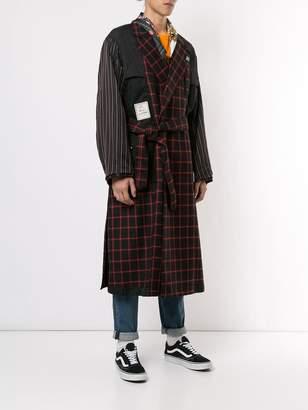 Puma Maison Yasuhiro check print trench coat