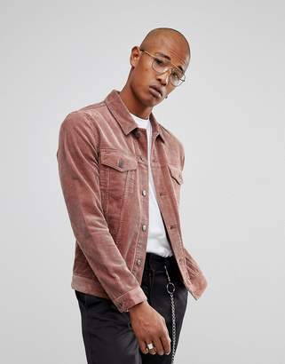 Asos Cord Jacket in Dusky Pink