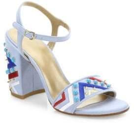 Stuart Weitzman Both Embellished Suede Ankle Strap Sandals