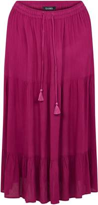 Evans Pink Tiered Maxi Skirt