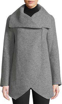 Cinzia Rocca Asymmetric Long-Sleeve Wool-Blend Wrap Jacket, Light Gray