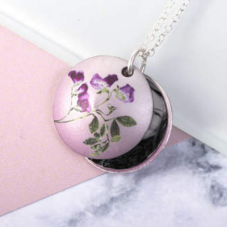 Sweet Pea Gillian Arnold April Birth Flower Photo Locket Gift Necklace