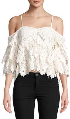 Saylor Brandy Cold-Shoulder Floral Lace Top