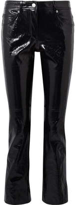 Helmut Lang Crinkled Patent-leather Slim-leg Pants - Black