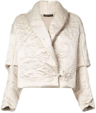 Josie Natori shawl collar embossed jacket