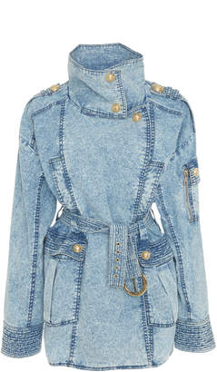 Balmain Belted Acid Wash Denim Jacket