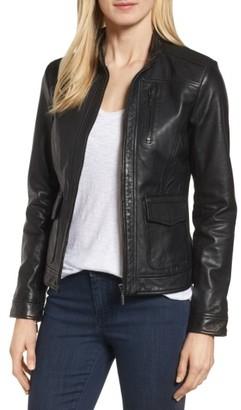 Women's Bernardo Kerwin Pocket Detail Leather Jacket
