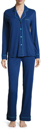 Cosabella Bella Contrast-Trim Long-Sleeve Pajama Set $130 thestylecure.com