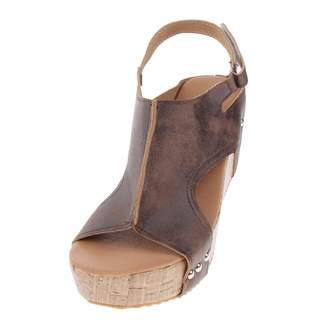 Homyl Retro Studded Cork Platform Wedge Sandal Leather Upper Open Toe for Women