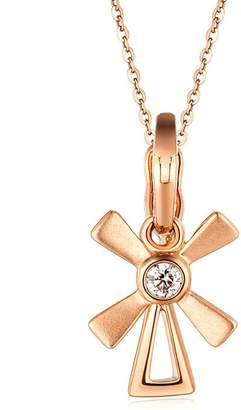 Aooaz Real Jewelry 18K Gold Women Necklace Chain Windmill Diamond Pendant Necklace 18K Gold Chain 45CM Wedding Necklaces