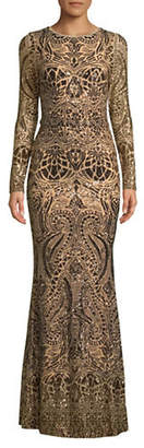 Betsy & Adam Bronze Metallic Floor-Length Gown