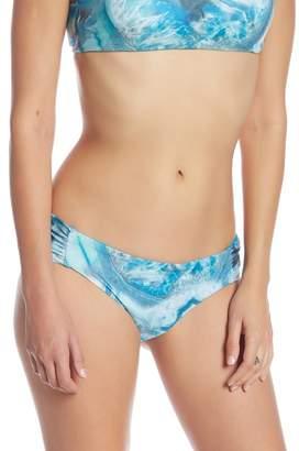 Becca Reversible Printed Shirred Side Bikini Bottoms