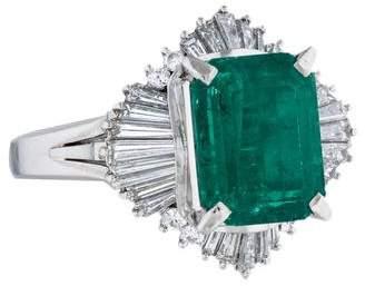 Ring Platinum 3.49ct Emerald & Diamond Cocktail