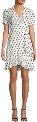 Diane von Furstenberg Printed Ruffle Fit Flare Wrap Dress