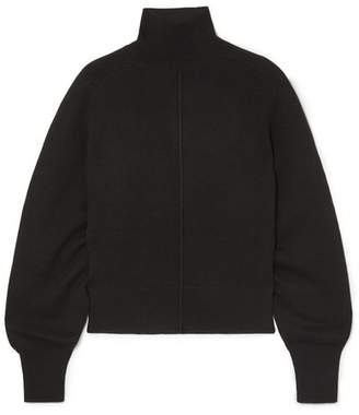 Chloé Oversized Ribbed Wool Turtleneck Sweater - Black