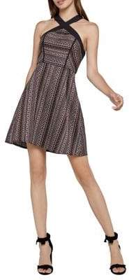BCBGeneration Geometric Striped Jacquard Fit-and-Flare Dress