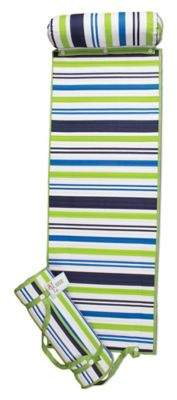 Rolled Striped Beach Mat in Blue/Green
