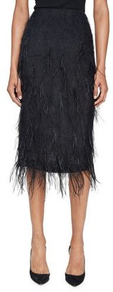 Jason Wu Ostrich-Feather Pencil Midi Skirt, Black $1,395 thestylecure.com