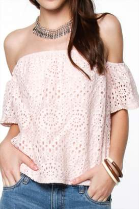 Everly Lace Blush Off Shoulder $48 thestylecure.com