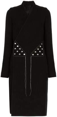 Rick Owens double-breasted stud embellished virgin wool blend coat