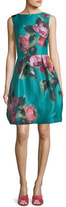 Monique Lhuillier High-Neck Sleeveless Floral-Print Cocktail Dress