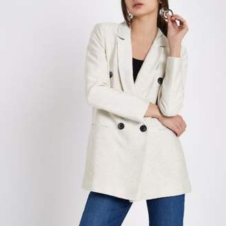 River Island Womens Cream natural double breasted blazer