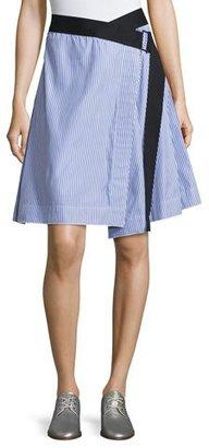 Rag & Bone Lenna Striped Poplin Belted Wrap Skirt, Blue/White $325 thestylecure.com