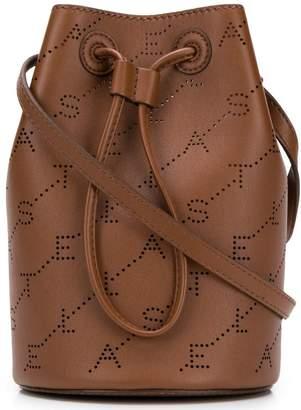 Stella McCartney logo perforated mini bucket bag