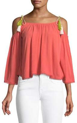 Cupcakes And Cashmere Bettie Cold-Shoulder Tassel Tie Blouse
