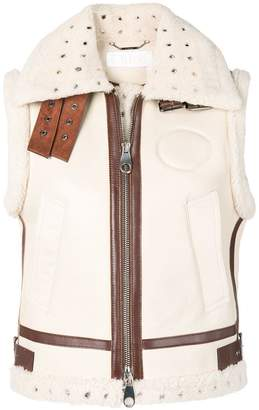 Chloé leather and shearling gilet